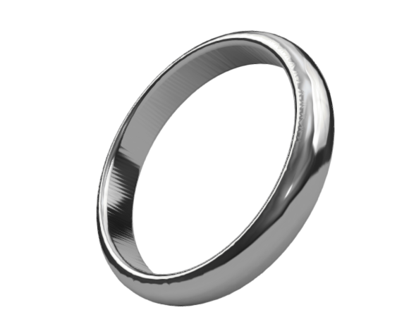 Iridium Ring 4mm Traditional Domed